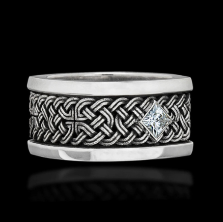 Vintage Gothic Man Woven Design Ring