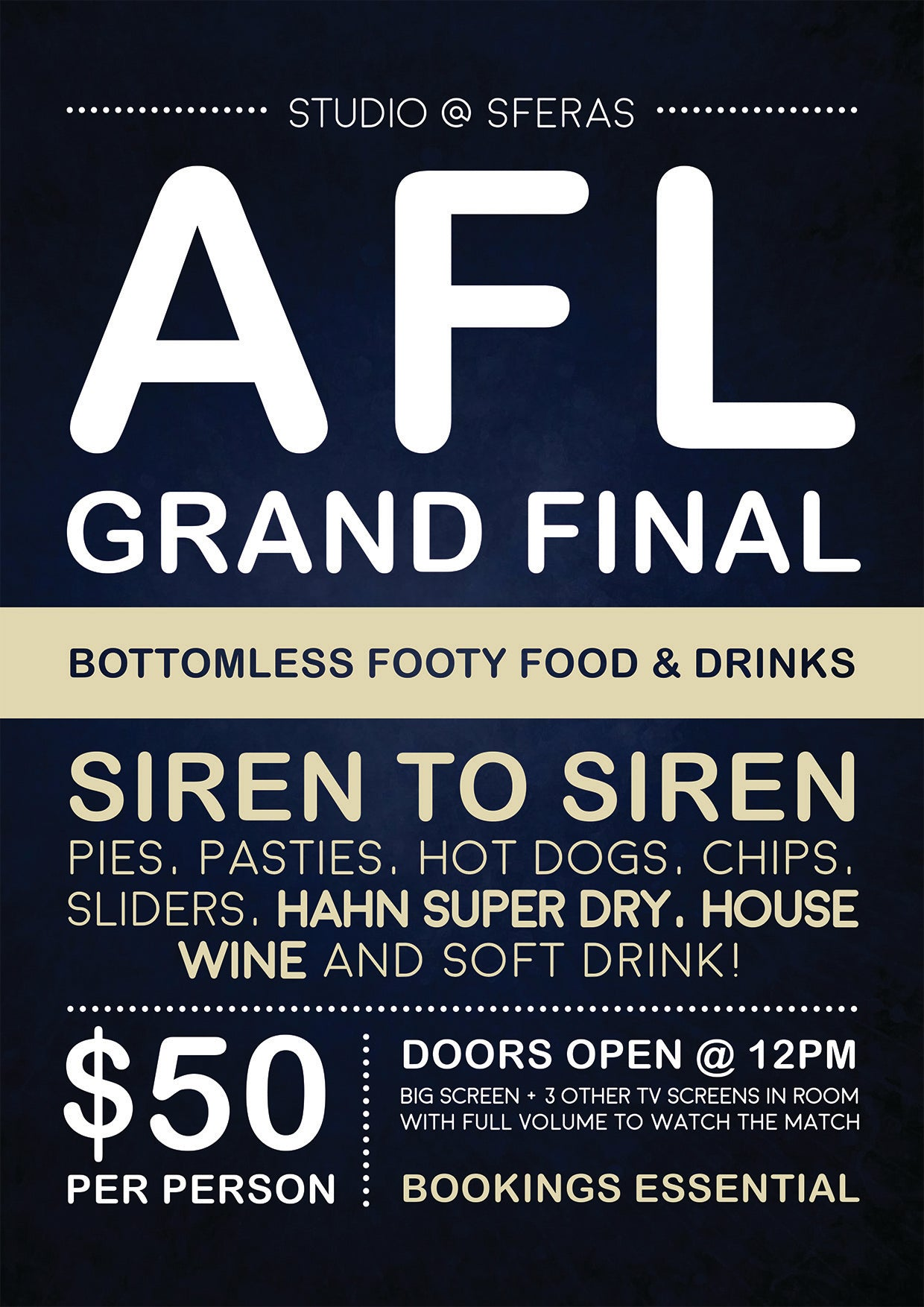AFL GRAND FINAL - Bottomless Footy Food & Drinks