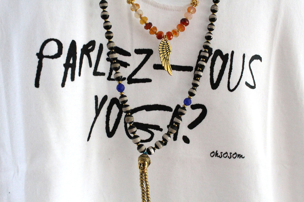 Parlez-vous yoga? White Tank - OHSOSOM | Yoga Clothing & Accessories