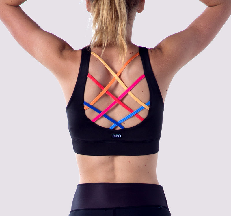 Laced Up Bra - Black Rainbow - OHSOSOM | Yoga Clothing & Accessories