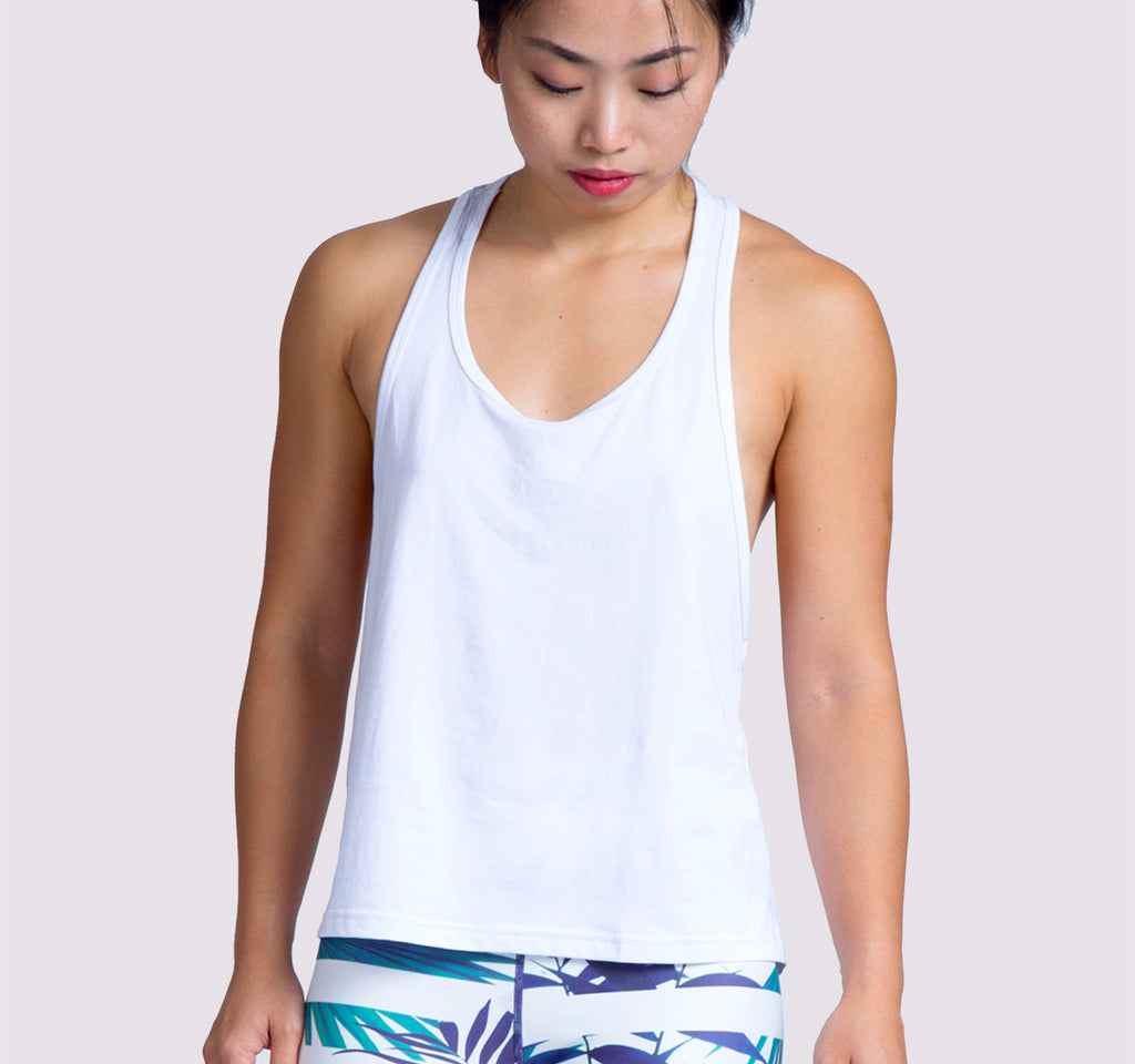 Super Racer Tank - White - OHSOSOM | Yoga Clothing & Accessories