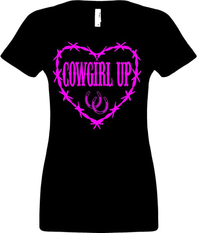 Women V-neck Shirt Cowgirl Up