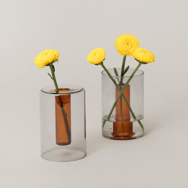 Small Reversible Glass Vase - Grey