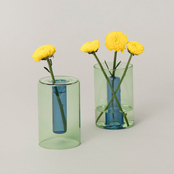 Small Reversible Glass Vase - Green