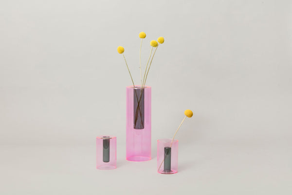 Small Reversible Glass Vase - Pink
