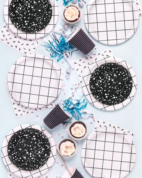 Black Grid Party Cups