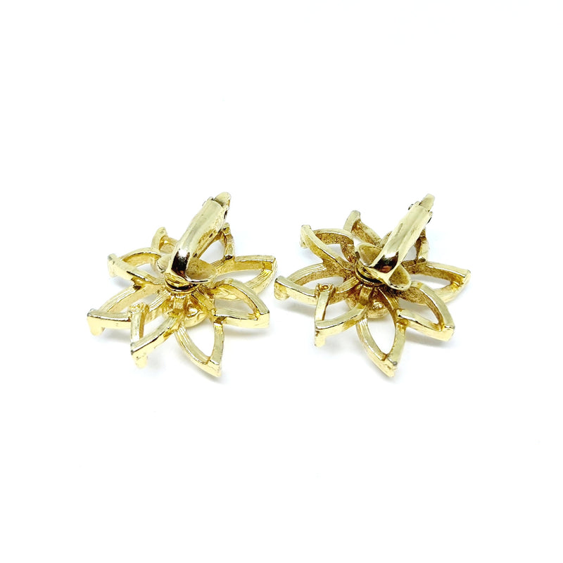Gold Floral Clip On Earrings