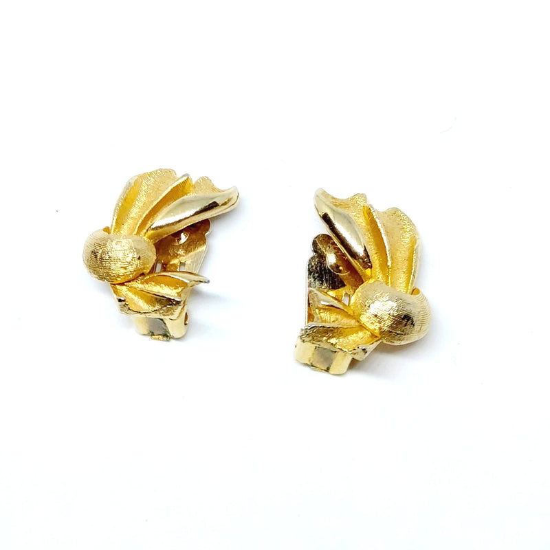 Gold Bow Clip On Earrings