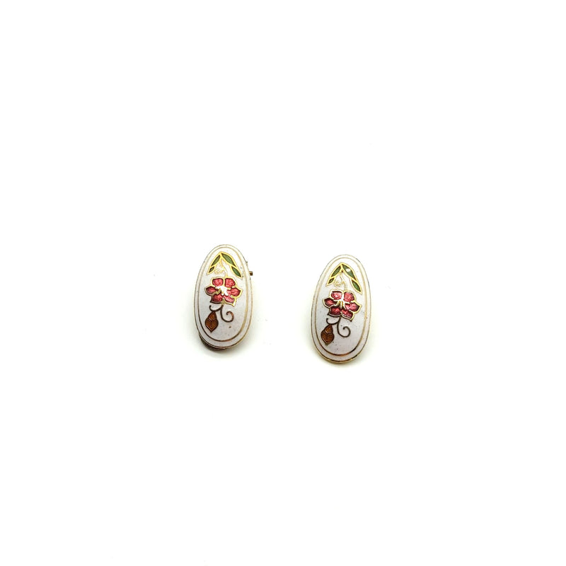 Enamel Floral Cloisanne Clip On Earrings