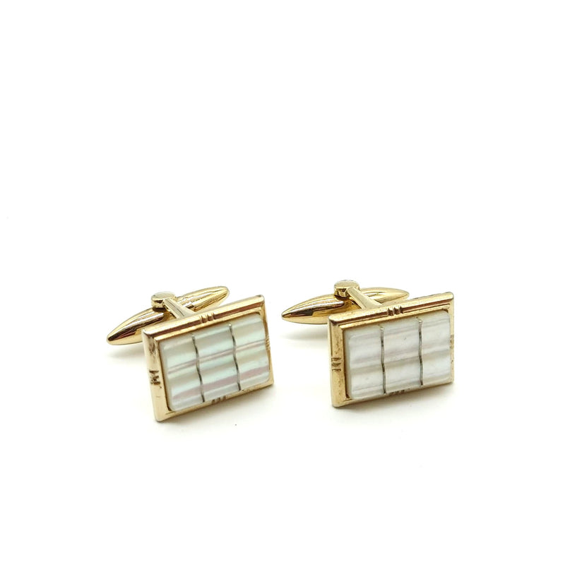 Gold and Mother of Pearl Rectangle Cufflinks