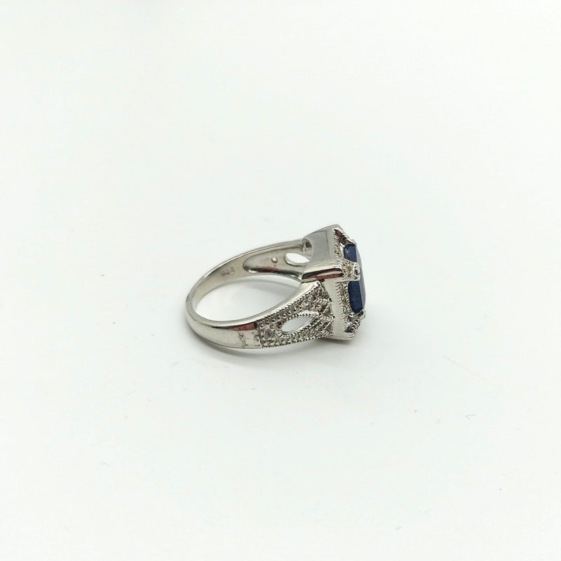 Ornate Silver and Sapphire Ring