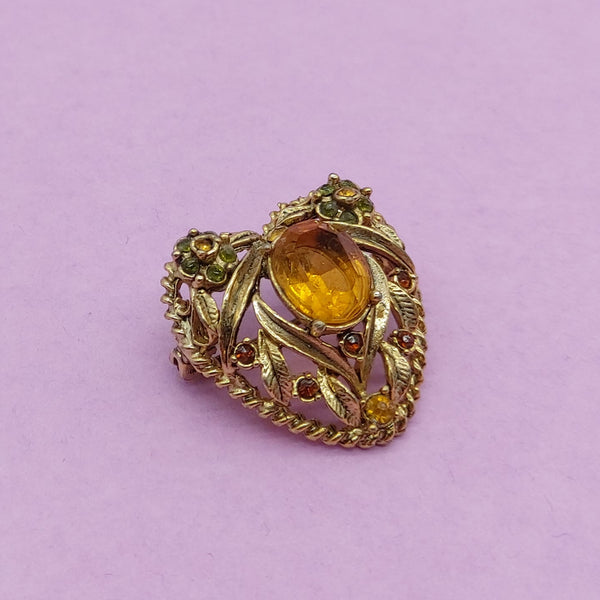 Ornate Gold Loveheart Brooch