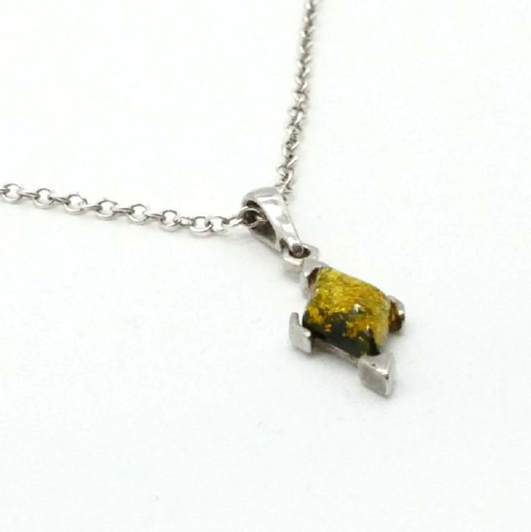Sterling Silver Amber Pendant on Delicate Cable Chain