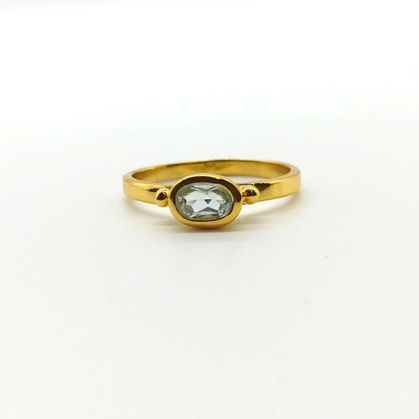 Gold on Sterling Silver Aquamarine Ring