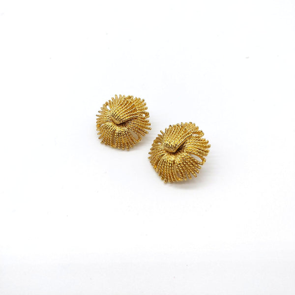 Gold Textured Monet Clip On Earrings