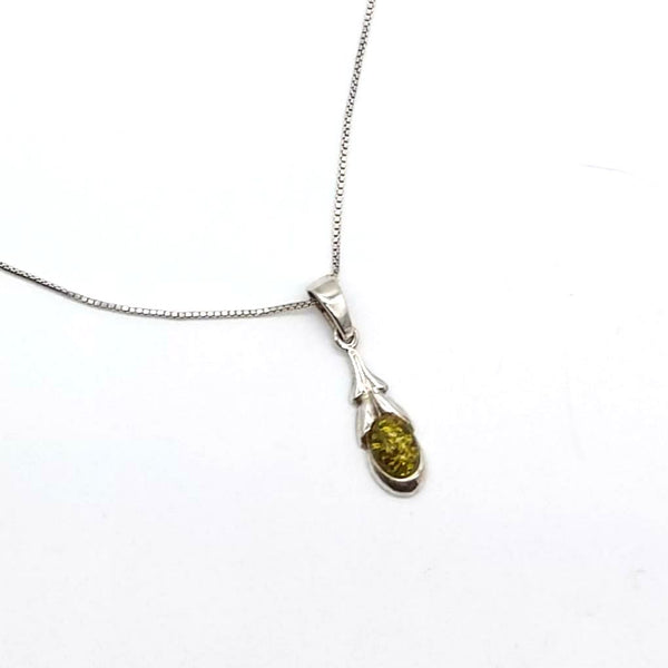 Yellow Amber Pendant on Silver Box Chain