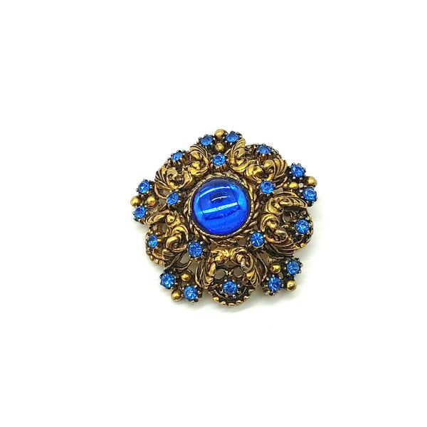 Ornate Blue and Gold Brooch