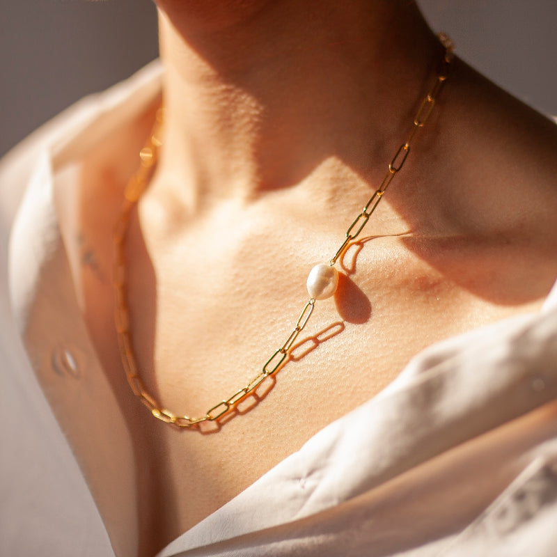 Messina Gold and Pearl Paperclip Chain