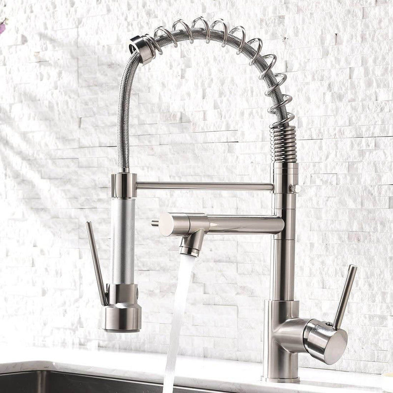 Dual Spout Pull Out Spring Faucet