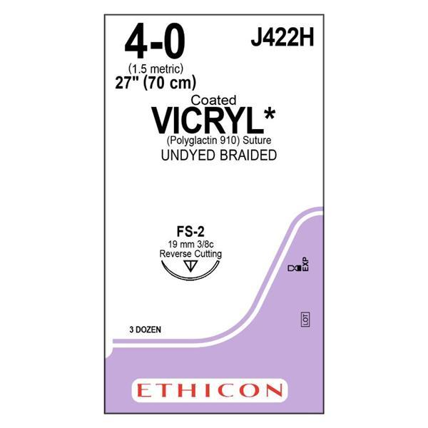 "J422H | VICRYL, 4-0, UNDYED, 27"", FS2, 3/8 CIRCLE 19MM (BOX OF 36) ProNorth Medical Corporation"