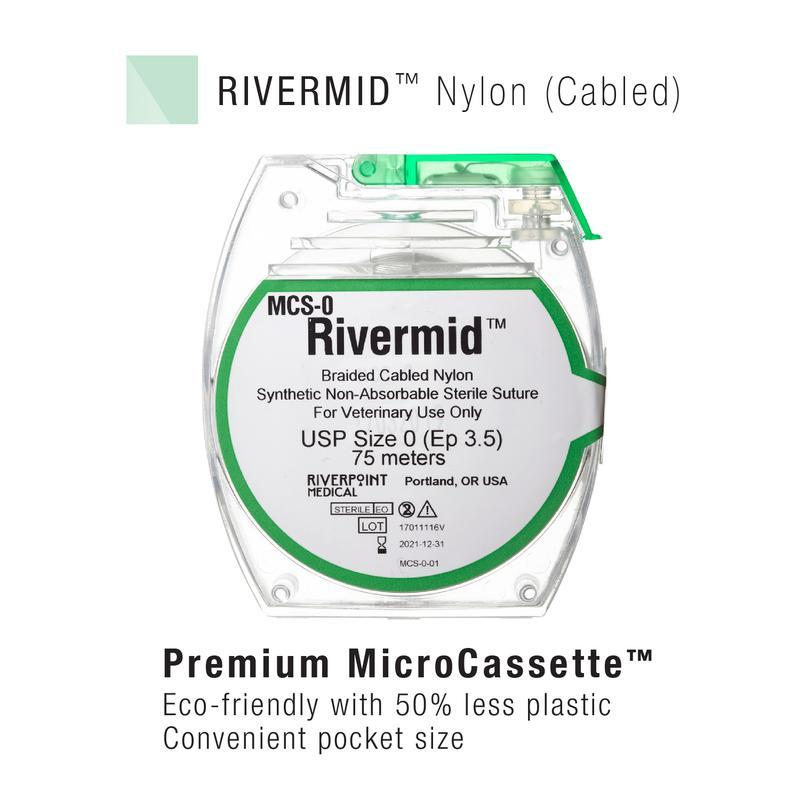 MCS-3/0 | Micro Cassette, RIVERMID, Nylon Braided, White, Size 3-0, 100m ProNorth Medical Corporation