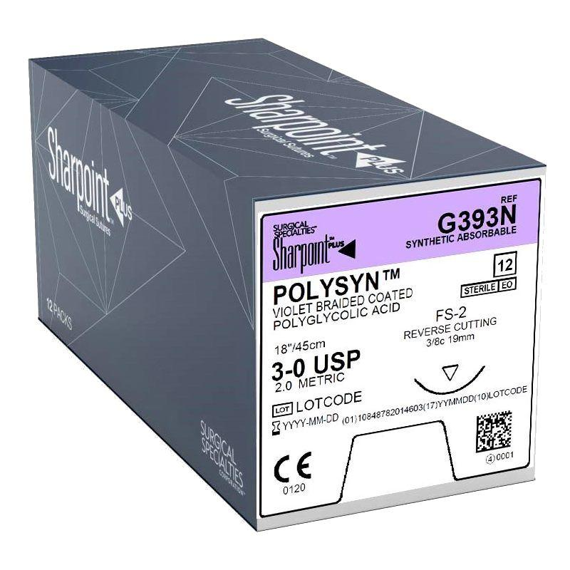 G393N |Sharpoint Plus, PolySyn, 3-0, Violet, 45cm, FS-2, Reverse Cutting, 3/8 Circle, 19mm ProNorth Medical Corporation