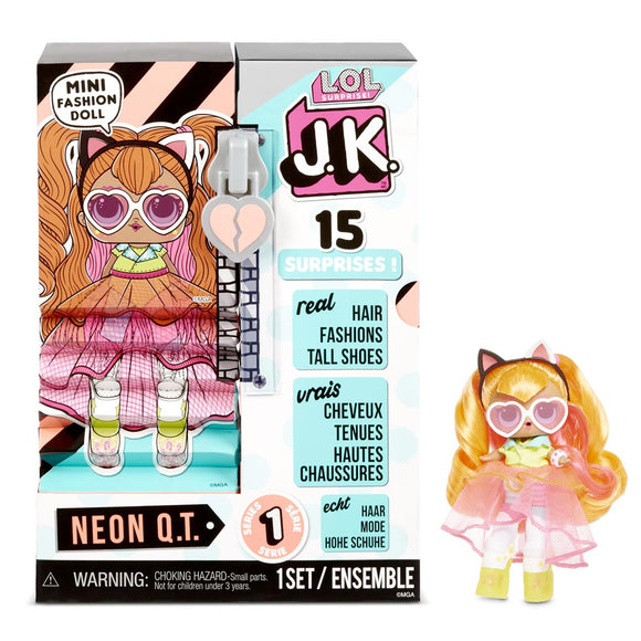 LOL Surprise JK Mini Muñeca Neon QT con 15 Sorpresas