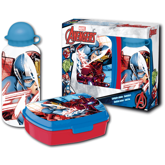 Marvel Los Vengadores Set Cantimplora Y Sandwichera