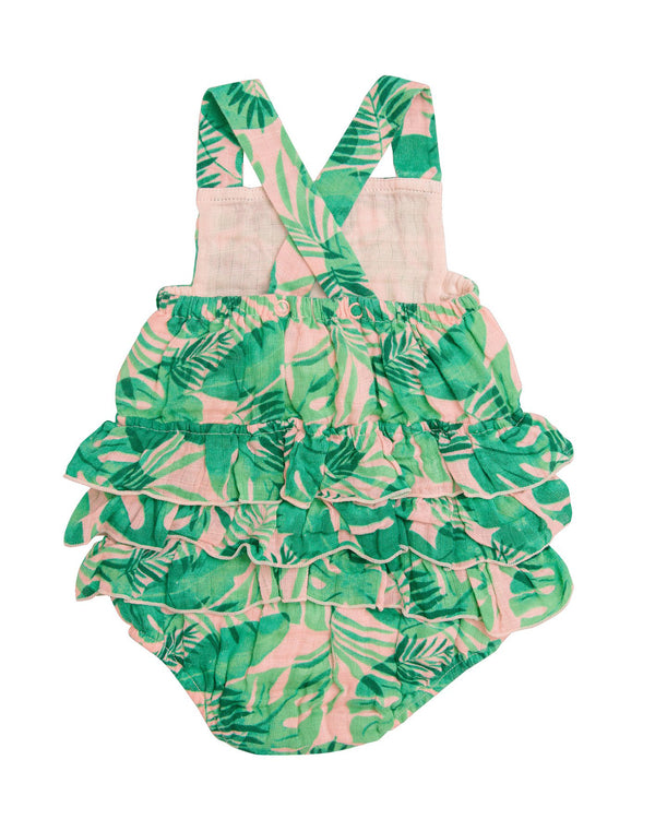 Tropical Leaves Pink Ruffle Sunsuit