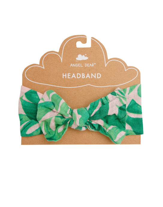 Tropical Leaves Pink Headband 0-12 MO