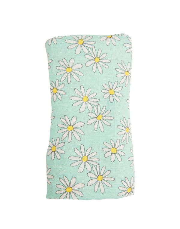 Flower Power Swaddle Blanket Mint