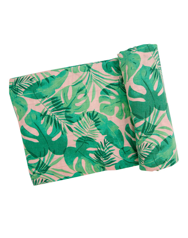 Tropical Leaves Pink Swaddle Blanket