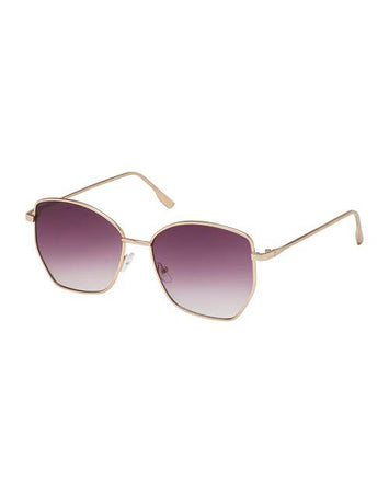 Cat Eye Aviator Sunglasses - Shiny Gold Smoke Lens