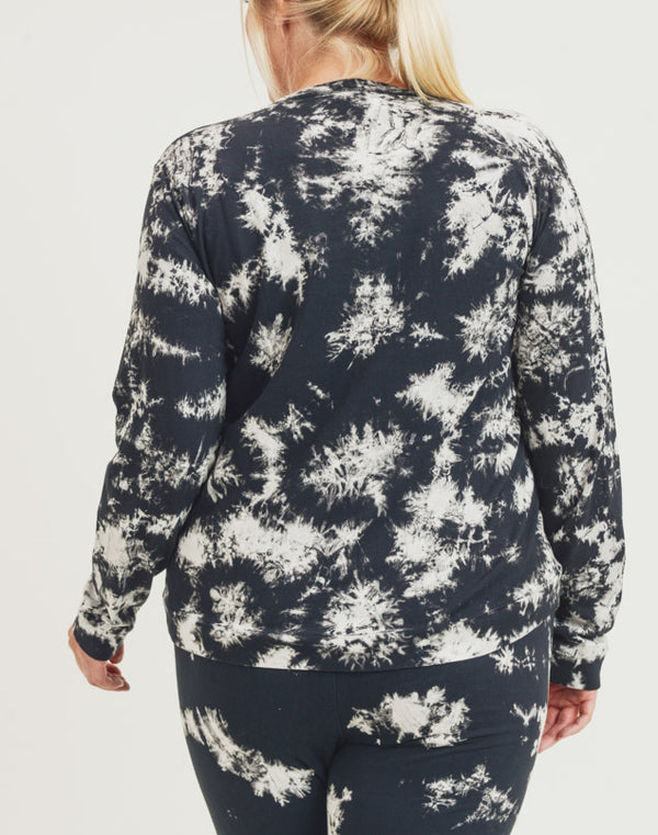 Leia Acid Wash Plus Size Sweater