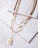 Heart Rect. Pendant Snake Chain Necklace - Gold