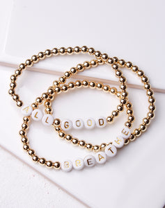 All Good/Breathe Gold Ball Bracelet Set