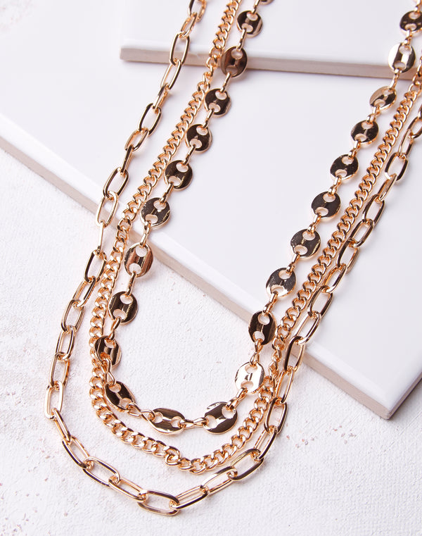 Multi Chain Circle Link Necklace- Gold