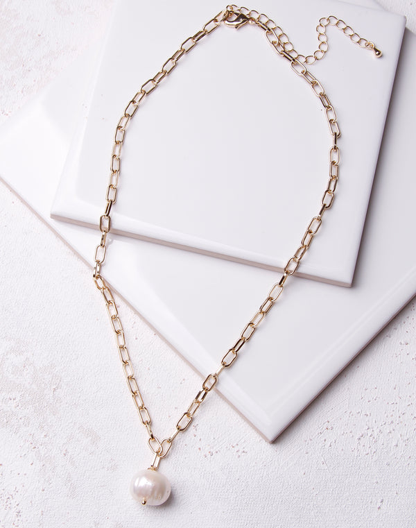 Freshwater Pearl Link Chain Choker - Gold