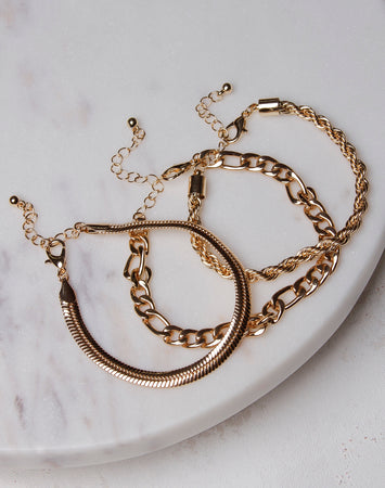 Separate Chain Bracelet Set- Gold
