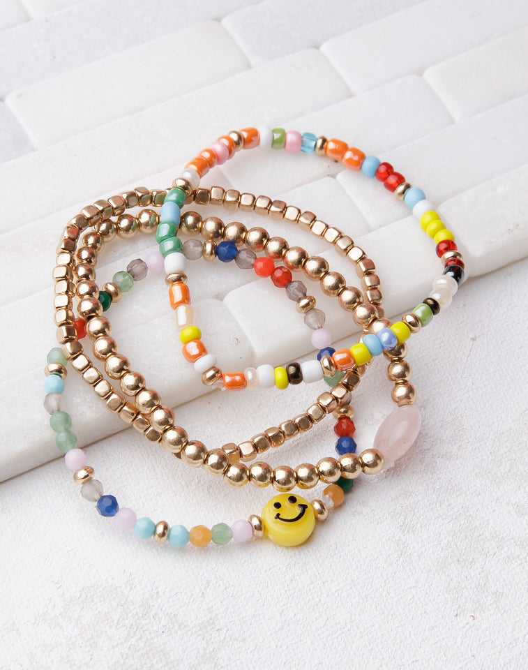 Smiley Face Beaded Bracelet Set- Rainbow