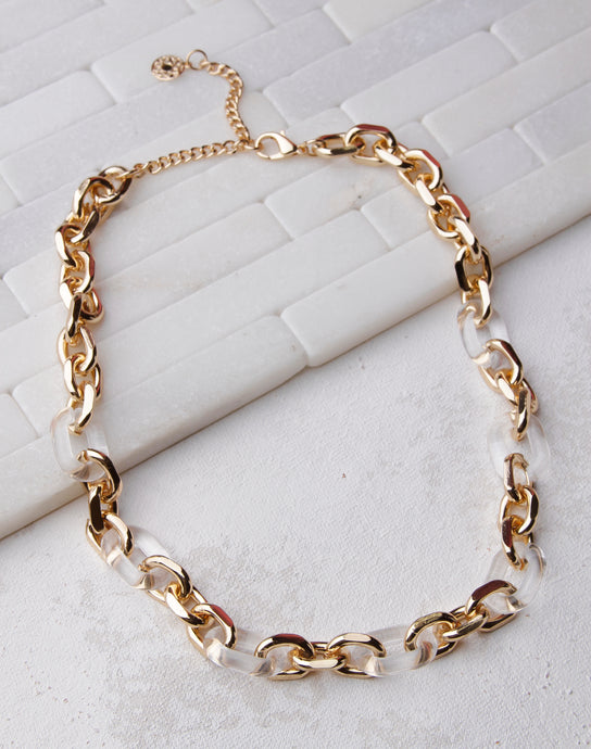 Lucite Gold Link Chain Necklace- Gold