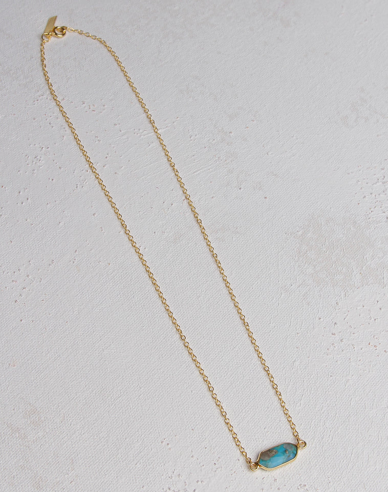 Slater Necklace With Turquoise- 14K Gold Vermeil