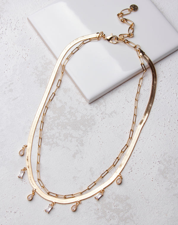 Snake Chain Layered Bezel Charm Necklace