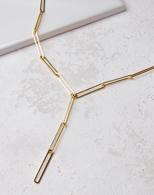Paperclip Chain Short Lariat Necklace- Gold