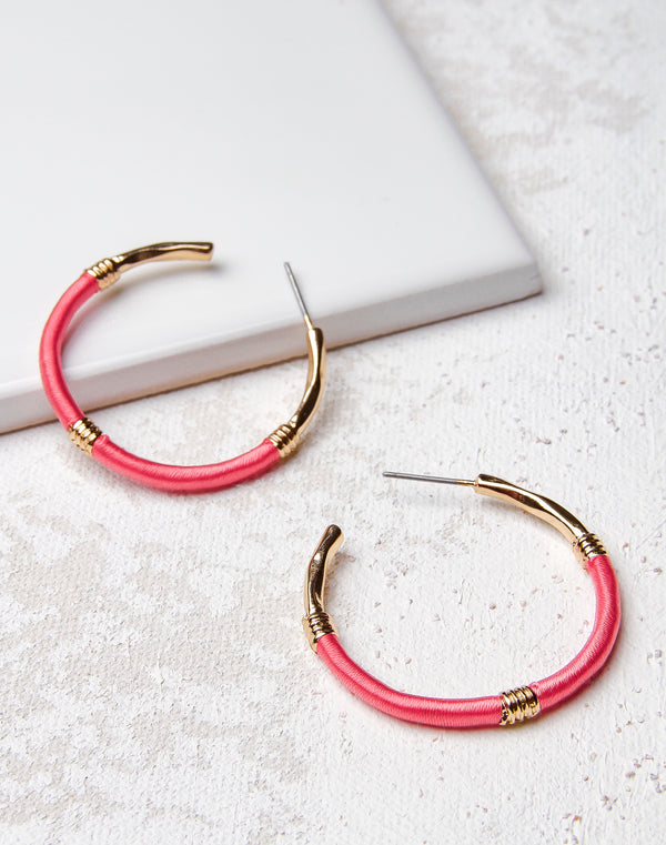 Thread Wrapped Gold Hoop