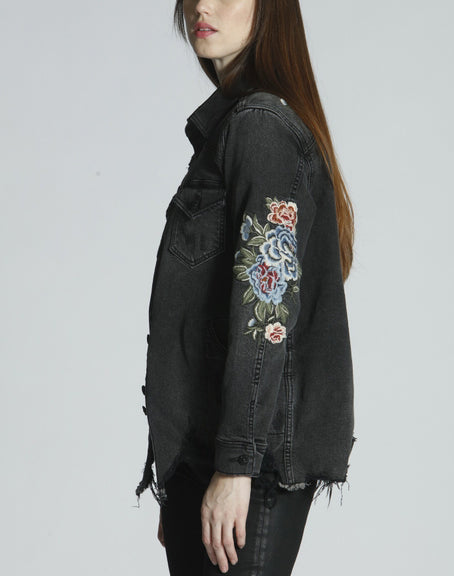Stormi Jean Jacket With Embroiderey