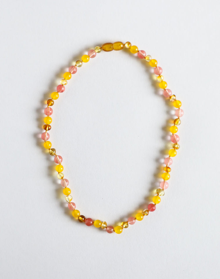Polished Honey Amber + Honeysuckle Gemstone Kids Necklace