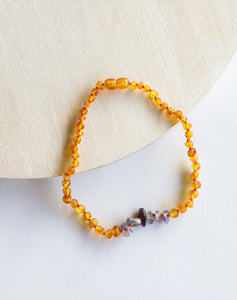 Raw Honey Amber + Raw Amethyst  Kids Necklace
