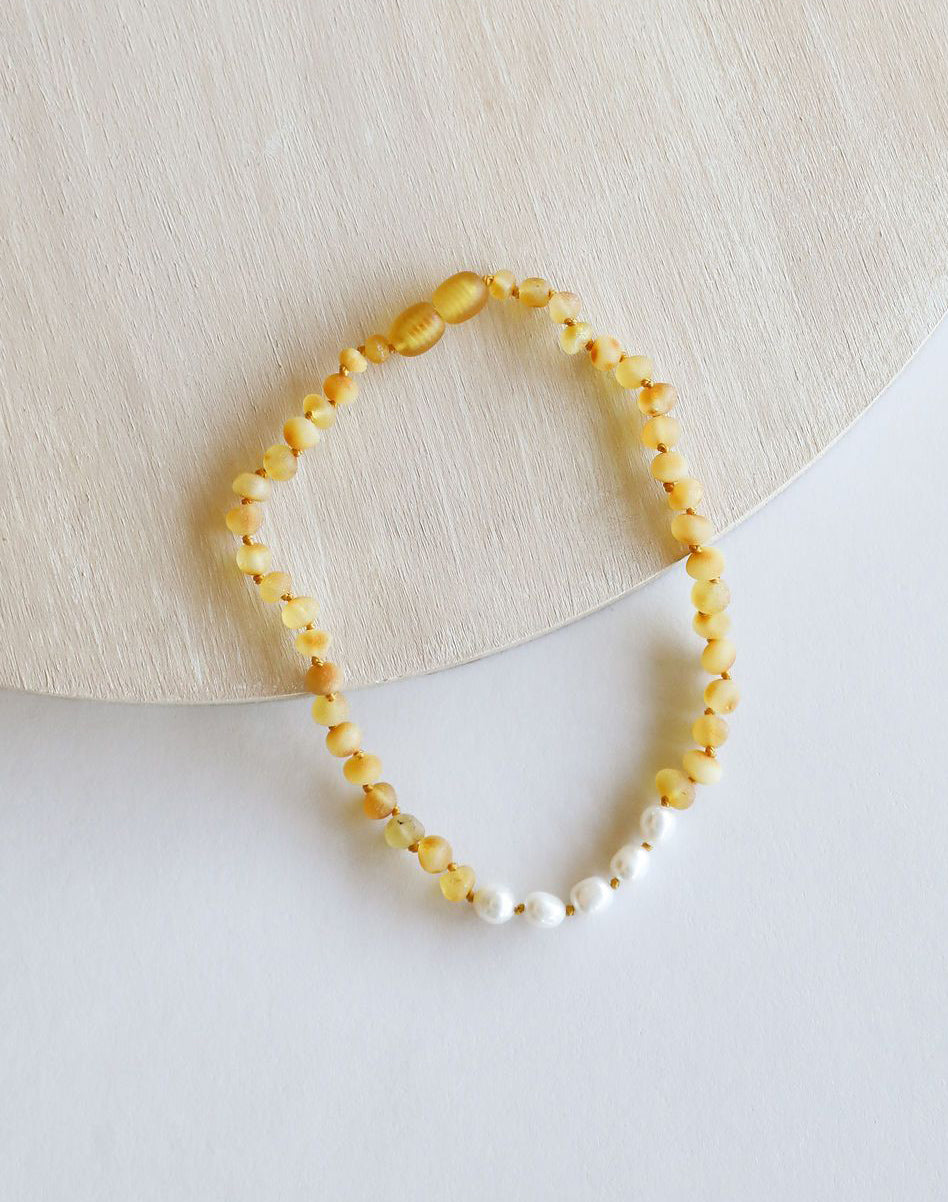 Raw Honey Amber + Pearl Kids Necklace