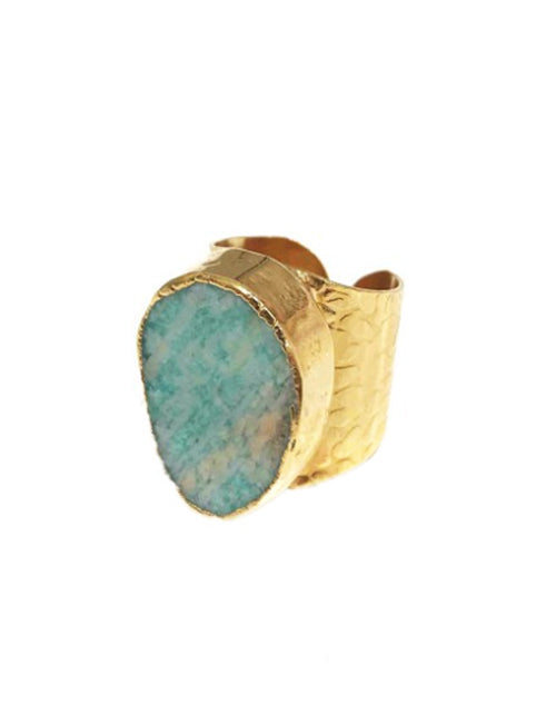 Amazonite Cigar Ring 24K Gold Plated
